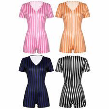 Women Short Sleeves Jumpsuit Deep V-neck Romper Striped Playsuit Summer Shorts