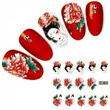 NB322 NAGELSTICKER chinesische Malerei Dame Blumen water transfer Tattoo Aufkleb