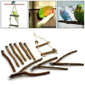 10Pcs Parrot Stand Rod Natural Wood Fork Perch Hanging Swing Pet Chewing Toys