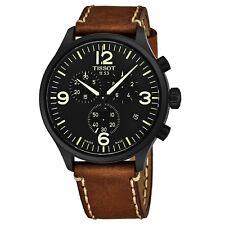 Tissot Men's Chrono XL Black Dial Leather Strap Quartz Date Watch T1166173605700