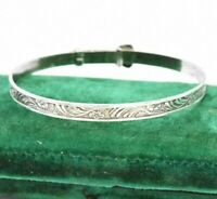 Vintage Sterling Silver Childs Adjustable Bracelet Christening Art Deco #W347
