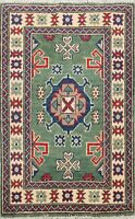 2x3 Traditional Green/Ivory Super Kazak Oriental Hand-Knotted Classic Area Rug