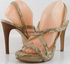 $138 CALVIN KLEIN PRARIE Camel Multi Snake Designer Heels Strappy Sandals 9