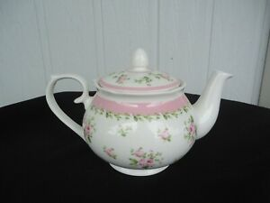 ashdene floral pink rose bone china teapot with infuser