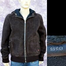GUCCI New sz 54 - 44 Authentic Designer Shearling Leather Web Mens Coat Jacket