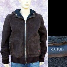 GUCCI New sz 54 - 44 Authentic Designer Shearling Leather Web Mens Coat Jacket