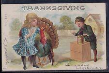 Vintage Postcard Thanksgiving Children w/ Turkey Embossed 1915