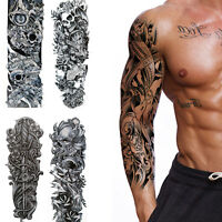 4 Sheets Removable Extra Large Flower Temporary Tattoos Sticker Arm 3D Men UK