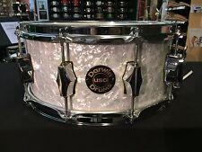 Darwin USA Maple Custom 14x6.5 Snare Drum - White Marine Pearl Wrap Keller Fibes
