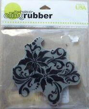 Stampendous Cling Rubber Stamp Poinsettia Silhouette, CRW062, Christmas