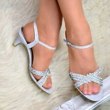 Ladies Diamante Ankle strap Party Sandals Shoe Low Mid Heel Evening Wedding Size