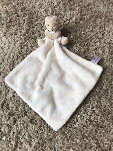 Next Teddy Bear Comforter Star White Beige Soft Baby Blanket Blankie Snuggy