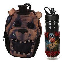 """FNAF Five Nights at Freddy's 18"""" Backpack Bag & 16 oz FNAF Durable Waterbottle"""