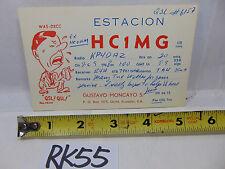 VINTAGE QSL CARD AMATEUR RADIO POSTAL HISTORY 1969 QUITO ECUADOR S.A ESTACION