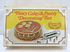 Vintage Fancy Cake & Pastry Decorating Set Silver Hand Press & 6 Attachments