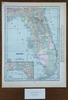 "Vintage 1900 FLORIDA Map 11""x14"" ~ Old Antique Original GAINESVILLE TALLAHASSEE"
