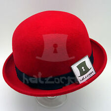 FASHION Wool Felt Women Soft Derby Hat Men Bowler Party Unisex NEW | 57cm | Red