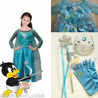 Ice Princess Elsa Fancy Dress Girls Frozen Snow Costume Party Queen Kids Anna