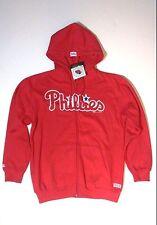 NEW PHILADELPHIA PHILLIES STITCHES ZIP UP HOODIE HOODED RED SWEATSHIRT MLB SZ M