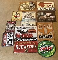 Lot Of 11 Tin Repro Signs Instant Man cave Ford, Pontiac, Mack, Firebird, More
