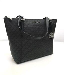 Michael Kors * Ciara 35F8SC6T7B Large EW Top Zip Tote Sig Black Bag