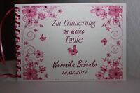 Gästebuch zur Taufe . Taufgeschenk Taufbuch rosa himbeere