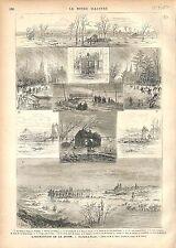 Crue Inondation Seine Moulins de Poissy Epone Mantes Paris à Rouen GRAVURE 1876