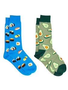 Men's Sushi & Sashimi Food Dress Socks & Avocados Novelty Dress Socks 2-Pair Set