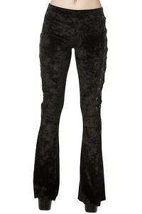 Lost Queen Gothic Black Crushed Velvet Side Corset Bell Bottoms Flared Pants