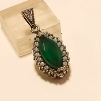 Turkish Two Tone Emerald Pendant 925 Sterling Silver Christmas Two Tone  Jewelry