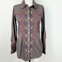 3J Workshop By Johnny Was Top XS Brown Multicolor Embroidered Button-Front Shirt