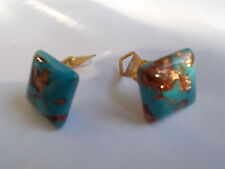 PAIR HAND MADE VENETIAN EGG BLUE GLASS WITH COPPER AVENTURINE CLIP ON EARRINGS