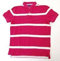 Tommy Hilfiger Poloshirt Polohemd Herren Gr.S rot gestreift Piquè -S1095