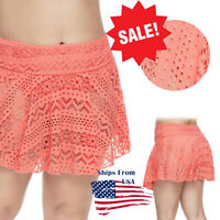 Women Orange Swim Skirt Geometric Stretch Cutout Hole Crochet Lace Swimwear S-2X