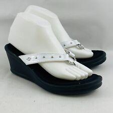 Womens 9 Skechers Wedge Thong Sandals White Patent Studs Rhinestones Flip Flops