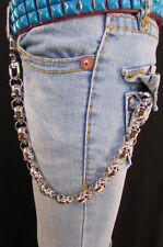 Silver Chunky Metal Long Wallet Chains Key Chain Large Skulls Skeleton Biker