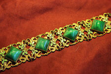 Neiger Art Deco Peking Green Enamel  Czech Glass Bracelet Gold Plate Dot Leaf