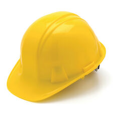 Yellow Hard Hat Pyramex HP14130 4-Point With Ratchet Suspension Safety Cap Style