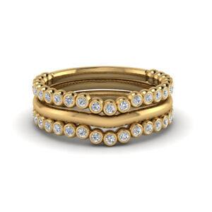 0.66 Ct Real Gorgeous Diamond Anniversary Band Set 14K Yellow Gold Size L M N O