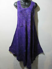 Dress Fits 1X 2X 3X 4X Plus Sundress Purple Gold Tie Dye Tunic A Shape NWT 515