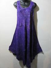 Dress Fit 1X 2X 3X 4X Plus Sundress Purple with Gold Wash Tunic A Shaped NWT 515