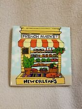 French Quarter New Orleans Wall Plaque Trivet French Market Vegetables Dog Paint