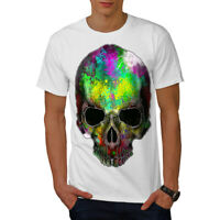 Wellcoda Rainbow Paint Skeleton Mens T-shirt,  Graphic Design Printed Tee