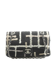 Chanel Painted Tweed Medium Classic Double Flap Black Shoulder Bag