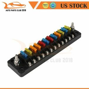 ATC ATO 12-Way Blade Fuse Block Box Holder With Damp-Proof Cover For All Vehicle