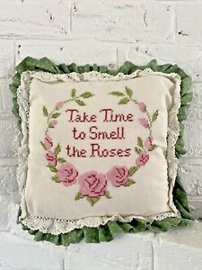 Embroidered Granny Chic Grandmillennial Pillow Take Time to Smell the Roses Pink