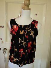 ashley fogel NZ black red  rose vintage print pretty top silky *