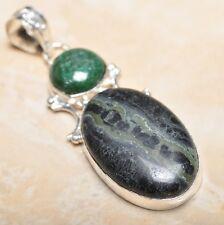 "Handmade Kambaba Jasper Gemstone 925 Sterling Silver Pendant 3"" #P14808"