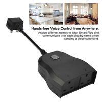 WIFI Smart Socket Outlet Voice Phone Remote Control Waterproof UK Plug Black