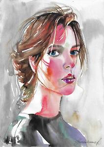 original painting A3 99KrV art samovar watercolor modern female portrait